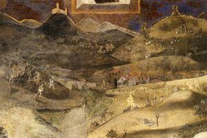 Ambrogio Lorenzetti - Good and Bad-Effects of Bad Government on the Countryside (detail)