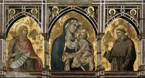 Pietro Lorenzetti - Assisi-arch-Madonna and Child with St Francis and St John the Baptist