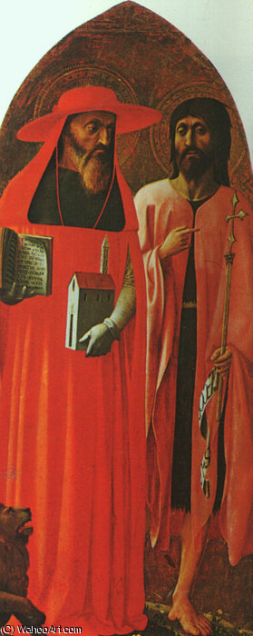 St. Jerome and St. John the Baptist by Masolino Da Panicale (1383-1447, Italy)