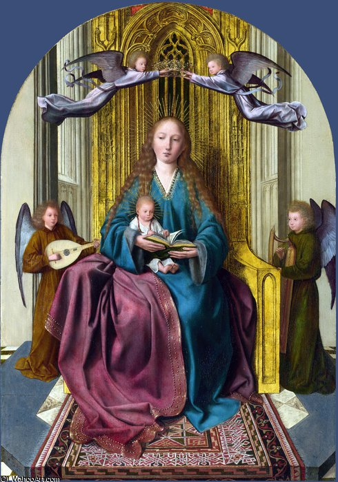 Order Famous Paintings Reproductions : The Virgin and Child Enthroned, with Four Angels by Quentin Massys (1466-1530, Belgium) | WahooArt.com