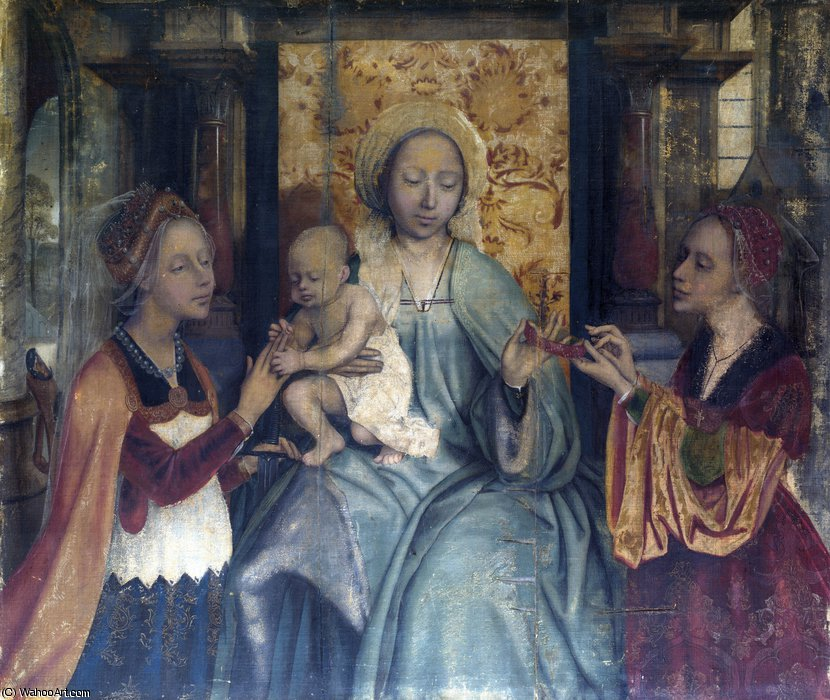 The Virgin and Child with Saints Barbara and Catherine by Quentin Massys (1466-1530, Belgium) | Museum Quality Reproductions | WahooArt.com