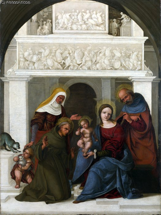 The Holy Family with Saint Francis by Ludovico Mazzolino (1480-1528, Italy) | Painting Copy | WahooArt.com