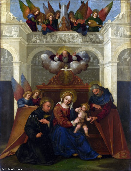 The Holy Family with Saint Nicholas of Tolentino by Ludovico Mazzolino (1480-1528, Italy) | WahooArt.com