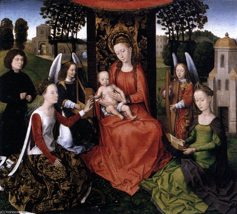 middle - The Mystic Marriage of St Catherine by Hans Memling (1430-1494, Germany) | Museum Quality Reproductions | WahooArt.com