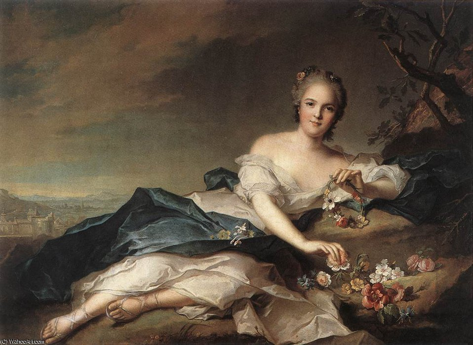 Marie Adelaide of France as Flora by Jean-Marc Nattier (1685-1766, France) | Famous Paintings Reproductions | WahooArt.com