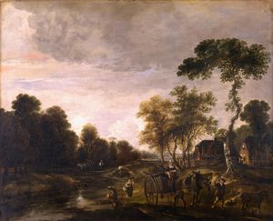 Aert Van Der Neer - An Evening Landscape with a Horse and Cart by a Stream