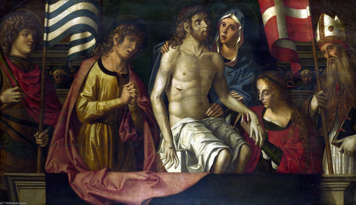 The Dead Christ with the Virgin and Saints by Marco Palmezzano (1460-1539, Italy)