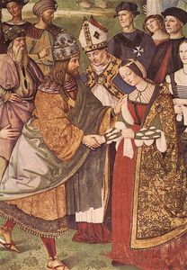 Bernardino Di Betto (Pintoricchio) - siena - Aeneas Piccolomini Introduces Eleonora of Portugal to Frederick III (detail)