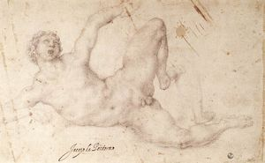 Order Art Reproductions | Kicking player by Jacopo Carucci (Pontormo) (1494-1557, Italy) | WahooArt.com