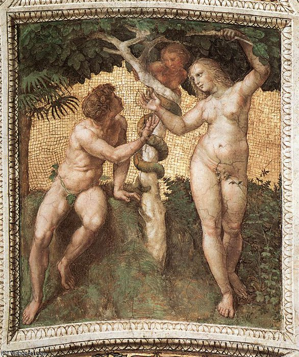 Adam and Eve (ceiling panel) by Raphael (Raffaello Sanzio Da Urbino) (1483-1520, Italy) | Art Reproduction | WahooArt.com