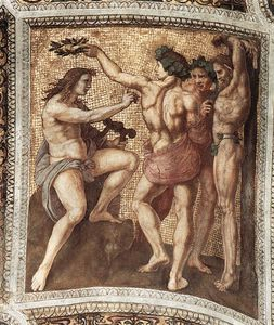 Raphael (Raffaello Sanzio Da Urbino) - Apollo and Marsyas (ceiling panel)