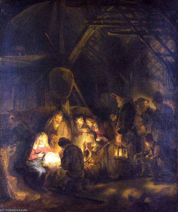 The Adoration of the Shepherds by Rembrandt Van Rijn (1606-1669, Netherlands)