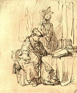 Rembrandt Van Rijn - A Man Seated at a Table Covered with Books,
