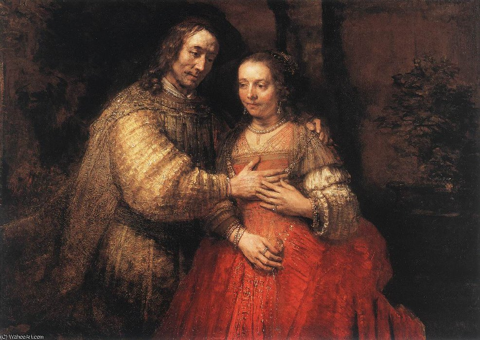 The jewish bride by Rembrandt Van Rijn (1606-1669, Netherlands)