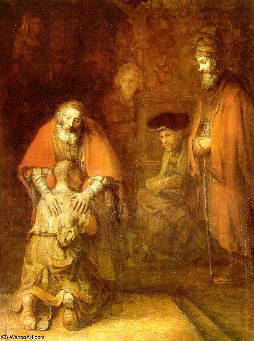 The return of the prodigal son ca eremitaget, 1662 by Rembrandt Van Rijn (1606-1669, Netherlands) | Famous Paintings Reproductions | WahooArt.com