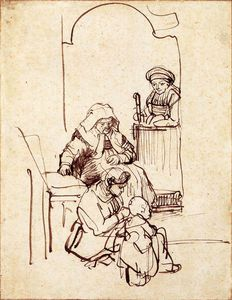 Rembrandt Van Rijn - Three Women and a Child by a Doorway