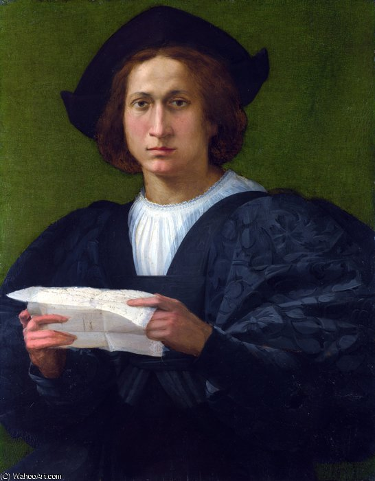 Portrait of a Young Man holding a Letter by Rosso Fiorentino (1495-1540, Italy) | Paintings Reproductions Rosso Fiorentino | WahooArt.com