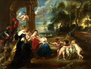 Peter Paul Rubens - the Studio of Peter Paul Rubens - The Holy Family with Saints in a Landscape