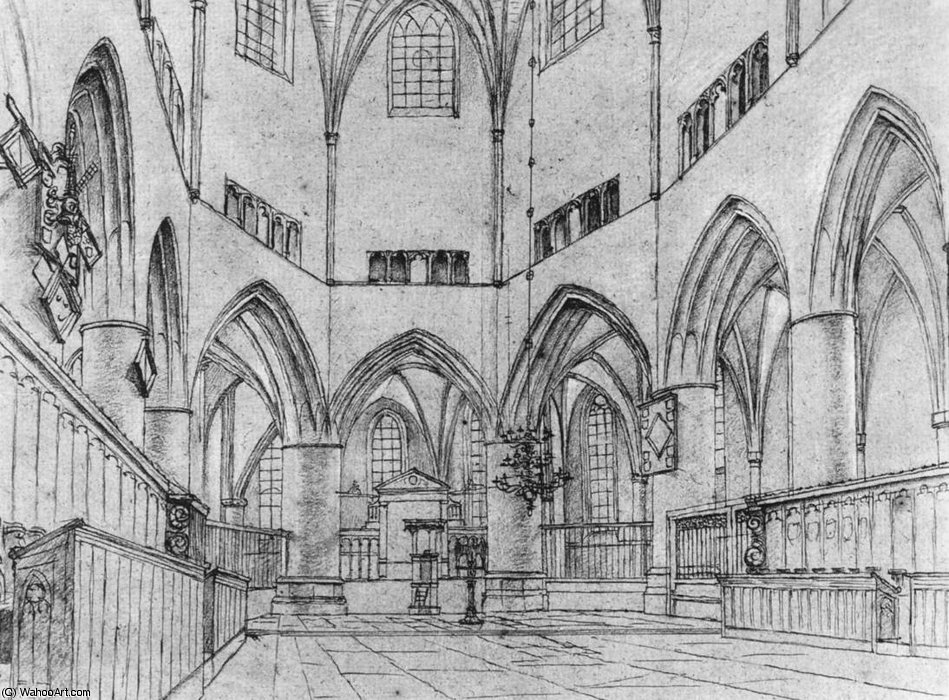 Interior of the Choir of St Bavo at Haarlem by Pieter Jansz Saenredam  (order Fine Art Hand Painted Oil Painting Pieter Jansz Saenredam)