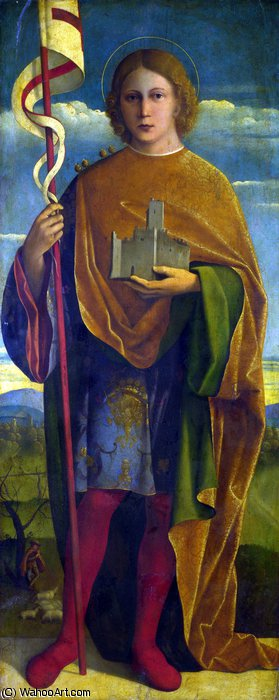 A Saint with a Fortress and a Banner by Girolamo Da Santacroce (1480-1556, Italy) | Art Reproduction | WahooArt.com
