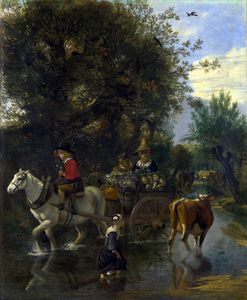 Jan Siberechts - A Cowherd passing a Horse and Cart in a Stream