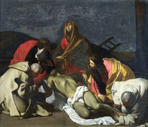 Massimo Stanzione - Monks and Holy Women mourning over the Dead Christ