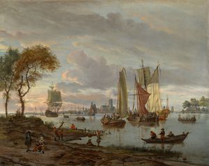 Abraham Storck (Sturckenburch) - A river view