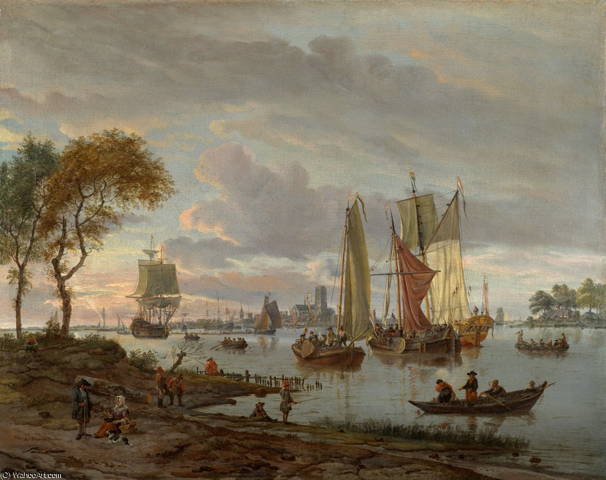 A river view by Abraham Storck (Sturckenburch) (1644-1708, Netherlands)