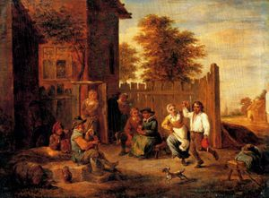 David The Younger Teniers - Merrymaking Outside an Inn