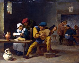 David The Younger Teniers - Peasants making Music in an Inn