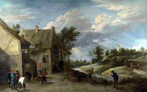 David The Younger Teniers - Peasants playing Bowls outside a Village Inn