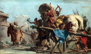 Giovanni Domenico Tiepolo - The Building of the Trojan Horse