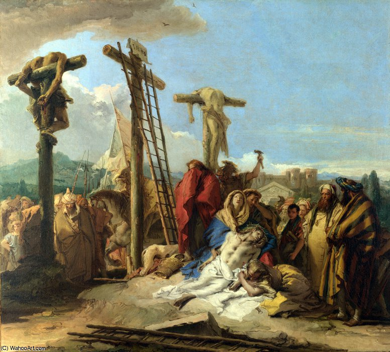 The Lamentation at the Foot of the Cross by Giovanni Domenico Tiepolo (2007-1770, Italy) | Oil Painting | WahooArt.com