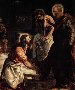 Tintoretto (Jacopo Comin) - Christ washing his disciples' feet (detail)