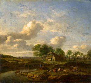 Order Art Reproductions | A Landscape with a Farm by a Stream by Adriaen Van De Velde (1636-1672, Netherlands) | WahooArt.com
