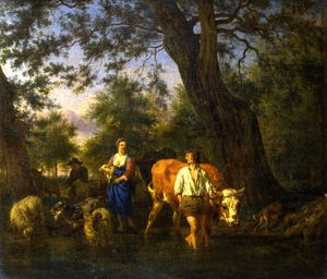 Adriaen Van De Velde - Peasants with Cattle fording a Stream