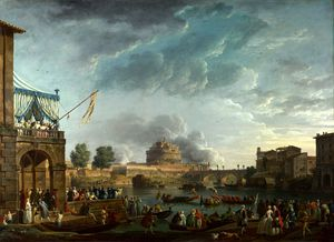 Claude Joseph Vernet - A Sporting Contest on the Tiber at Rome