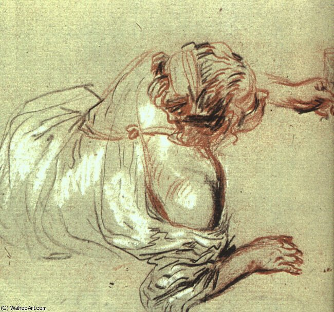 Recicling Bacchante Holding a Glass by Jean Antoine Watteau (1684-1721, France)