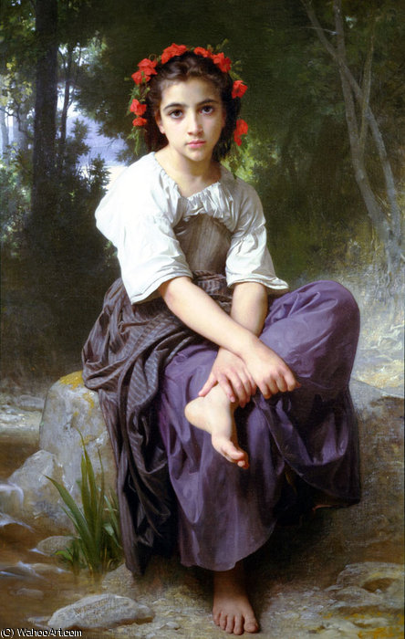 Au bord du ruisseau by William Adolphe Bouguereau (1825-1905, France) | Oil Painting | WahooArt.com