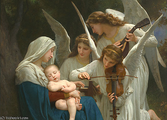 VirginAndAngelsAfterLarge by William Adolphe Bouguereau (1825-1905, France) | Famous Paintings Reproductions | WahooArt.com