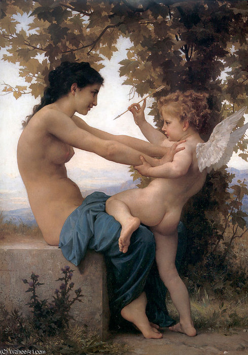 Jeune fille se defendant contre lamour by William Adolphe Bouguereau (1825-1905, France) | Oil Painting | WahooArt.com