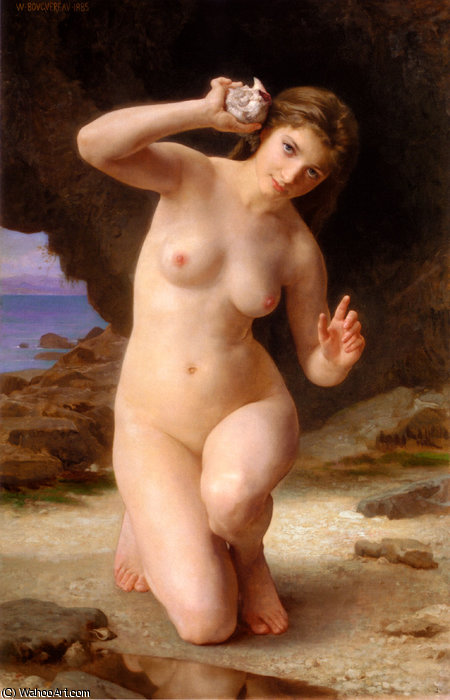 FemmeAuCoquillage, 1885 by William Adolphe Bouguereau (1825-1905, France) | Art Reproduction | WahooArt.com