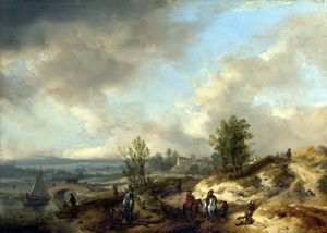 Philips Wouwerman - A Dune Landscape with a River and Many Figures