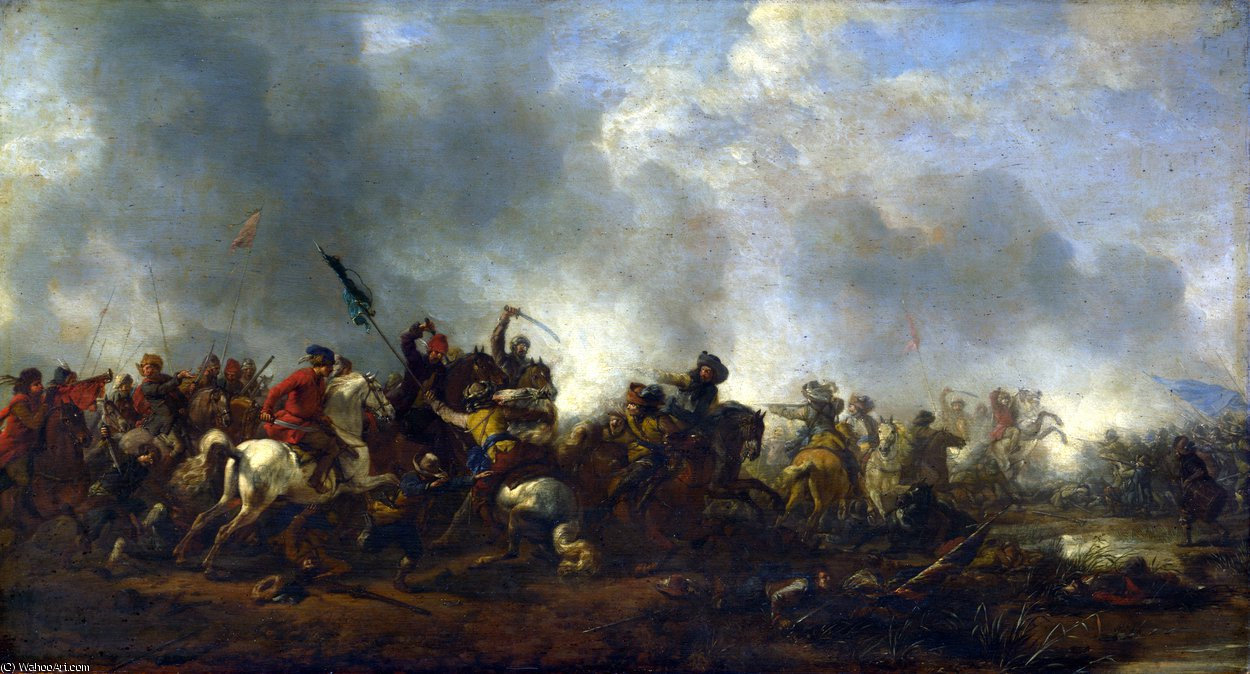 Cavalry attacking Infantry by Philips Wouwerman (1619-1668, Netherlands) | Museum Quality Reproductions | WahooArt.com