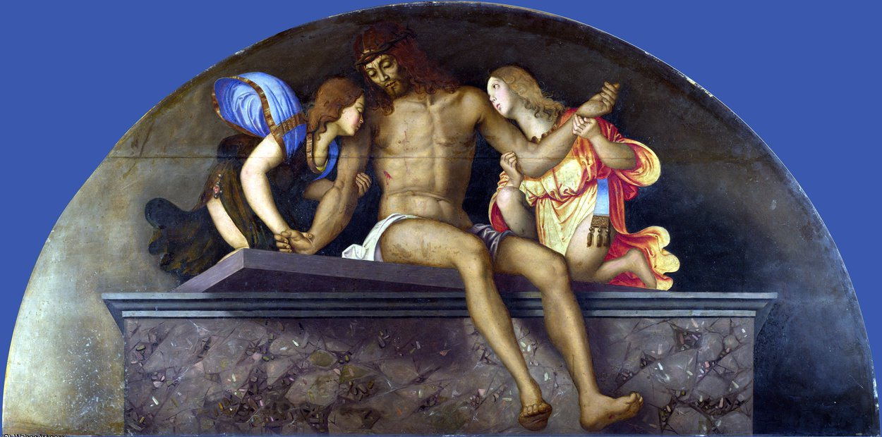 The Dead Christ with Angels by Francesco Di Bosio Zaganelli (1475-1532, Italy) | Famous Paintings Reproductions | WahooArt.com
