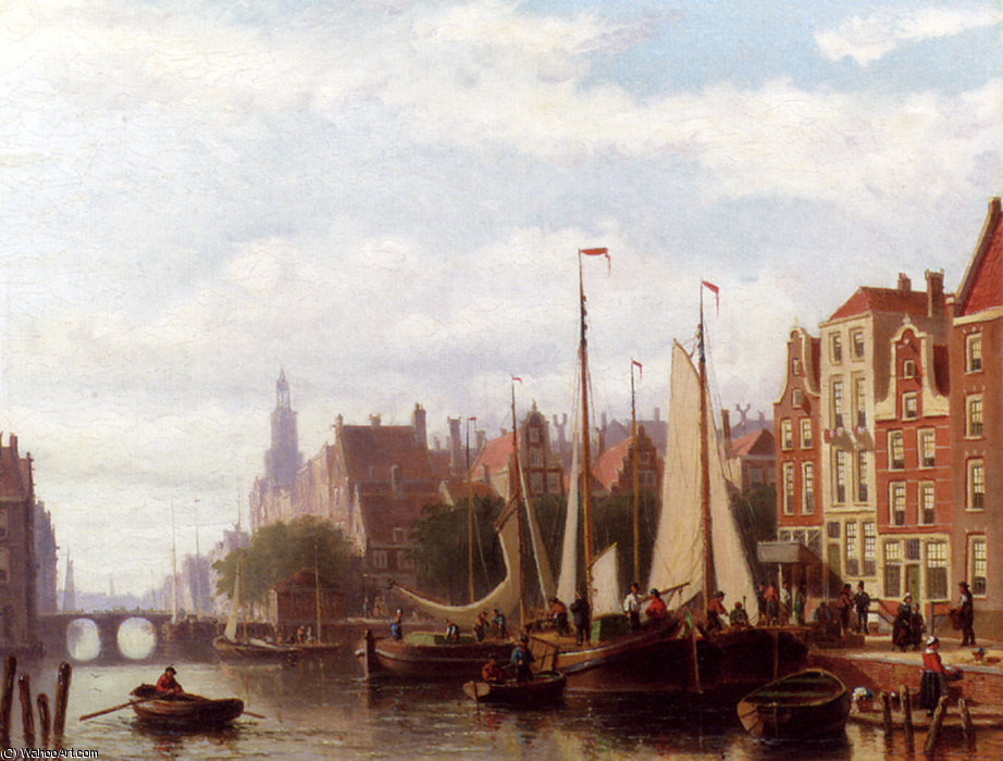 Order Painting Copy : Johannes frederik a busy day on the canal by Abraham Hulk Senior (1813-1897, Netherlands) | WahooArt.com