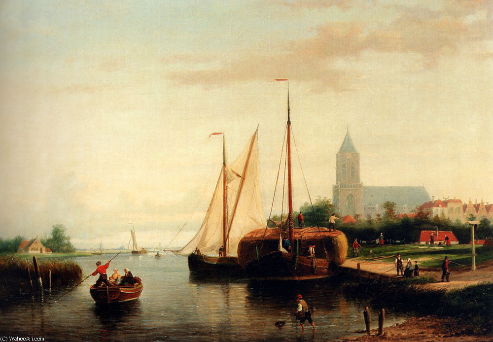 Johannes frederik a moored haybarge and other shipping by a bleach field by Abraham Hulk Senior (1813-1897, Netherlands)
