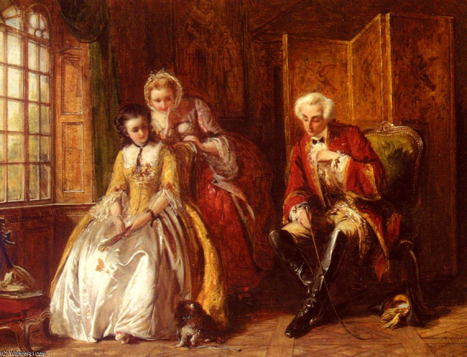 The bashful lover by Abraham Solomon (1823-1862, United Kingdom) | Painting Copy | WahooArt.com
