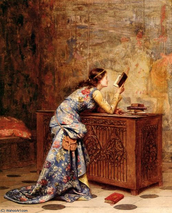 Captivated by Adolphe Alexandre Lesrel (1839-1929, France) | Paintings Reproductions Adolphe Alexandre Lesrel | WahooArt.com