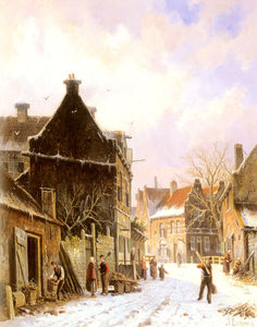 Adrianus Eversen - A village street scene in winter